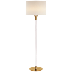 Торшер - Riga Floor Lamp in Hand-Rubbed Antique Brass and Clear Glass with Linen ShadeARN 1005HAB/CG-L