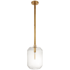 Подвесной светильник - Barrett Medium Knurled Pendant in Natural Brass with Clear Glass RL 5220NB-CG